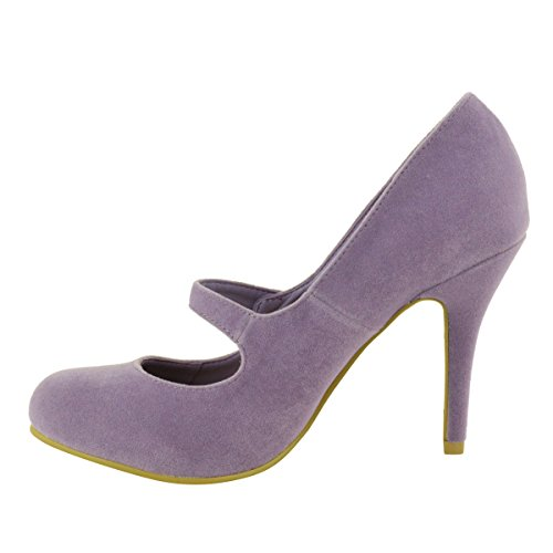 LADIES WOMENS LOW MID HIGH HEEL ANKLE STRAP COURT SHOES WORK PUMPS SANDALS SIZE Lilac Suede LWdfB5