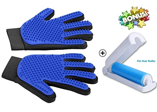 (Freefa Pet Grooming Gloves Mitts, Pet Deshedding Tool Cat Brushing Glove Hair Removal Pet Gloves Massage Brush for Long & Short Hair Dogs Cats Bunnies (One Pair) (Blue))