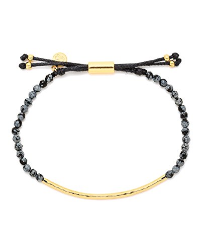 gorjana Power Bracelet Snowflake Obsidian with Gold Tone Bar - Courage