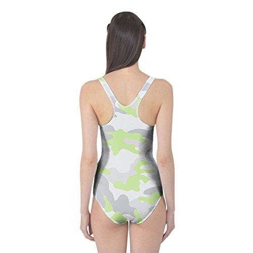 Camuflaje de color verde pastel Bañador de mujer XS-3X L una pieza