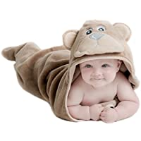 Little Tinkers World Bear Hooded Cotton Baby Towel, 30x30-Inch
