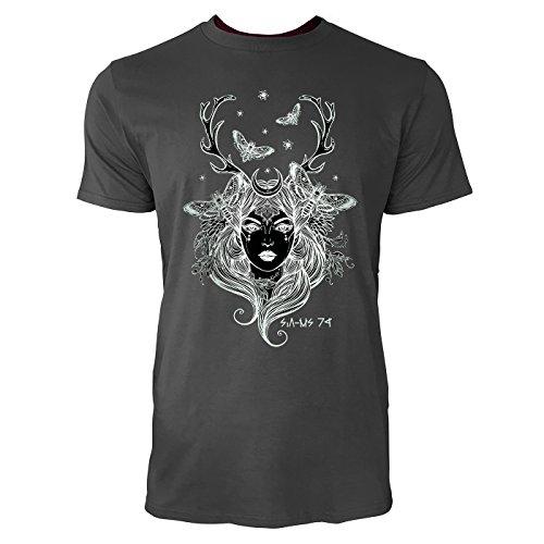 SINUS ART® Frau mit Hirschgeweih und Motten Herren T-Shirts in Smoke Fun Shirt mit tollen Aufdruck