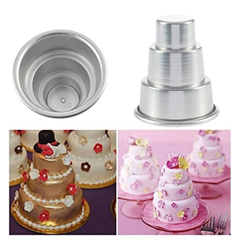 1 piece Pudding Mould DIY Mini 3-Tier Cupcake Pudding Chocolate Cake Mold Baking Pan Mould Party Food Kitchen Accessories IC880451]()