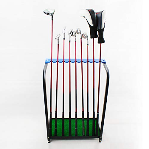 Crestgolf Golf Club Organizers Golf Club Display Shelf Golf Driver Rack for 9 pcs-Blue, Metal