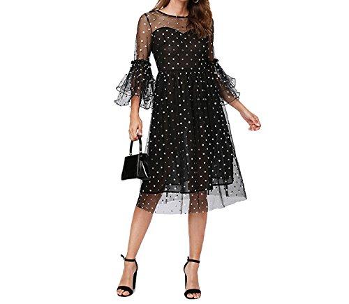 Elegant Classic Streetwear Tiered Ruffle Sleeve Semi Sheer High Waist Dress Women Goth Dress,Black,XS ()