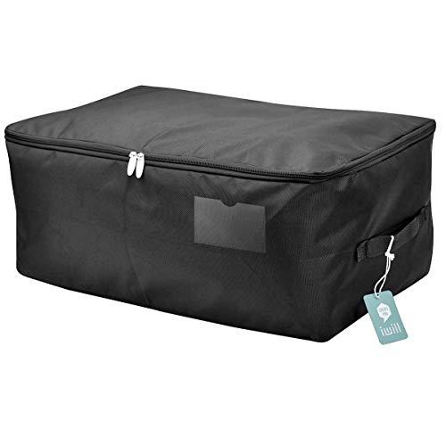 iwill CREATE PRO Seasonal Clothes Storage Bag, Comforter/Bedding/Quilt/Pillow Storage Organizer Bag, Black