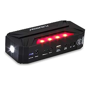 Floureon T3 Mini Salto de Arranque Emergencia para Coche (18000mAh 600A , Batería externo, Doble USB Puerto) - Mini Car Jump Starter