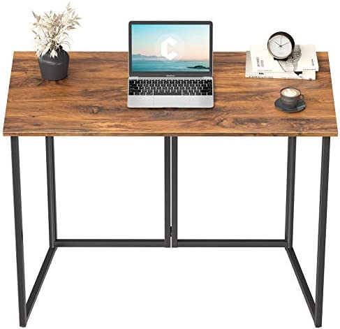 Cubiker 40″ Folding Computer Desk,Small Home Office Laptop Work Desk,Study Writing Table,No-Assembly,Foldable and Portable Design,Deep Brown