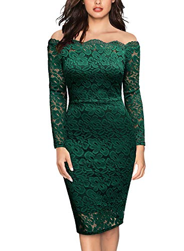 (Miusol Women's Vintage Off Shoulder Flare Lace Slim Cocktail Pencil Dress (Medium, G-Dark Green))