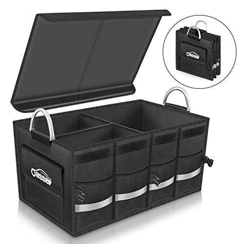 - Oasser Trunk Organizer Cargo Organizer Trunk Storage Organizer with Foldable Cover Aluminium Alloy Handle Reflective Stripe