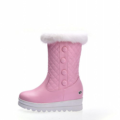Carolbar Vrouwen Namaakbont Mode Comfort Platform Verborgen Hak Snowboots Roze