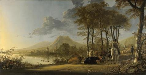 [Oil Painting 'Aelbert Cuyp - River Landscape With Horseman And Peasants,about 1658-60' Printing On Perfect Effect Canvas , 12x23 Inch / 30x59 Cm ,the Best Hallway Artwork And Home Decor And Gifts Is This Amazing Art Decorative Prints On] (Thailand National Costume For Male)