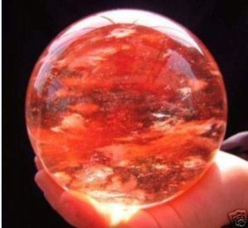 Rare Red Quartz Crystal Sphere Ball Size:67mm +Stand