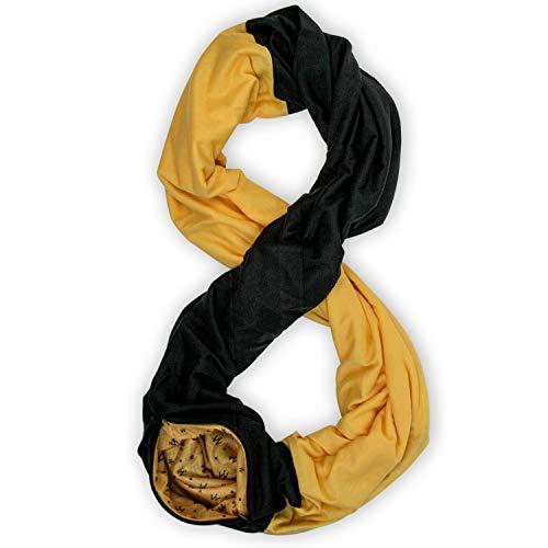 Stadium Series Scarf by WAYPOINT GOODS // Infinity Scarf w/Secret Hidden Zipper Pocket (Black & Yellow)