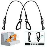 SlowTon Dog Seat Belt, Chew Proof Doggie Car Seatbelt Steel Cable Safety Belt Vehicle Tether Pet RopeLatch Bar Attachment Lockable Swivel Rock Climbers Carabiner for Dogs (Large - 2 Pack)