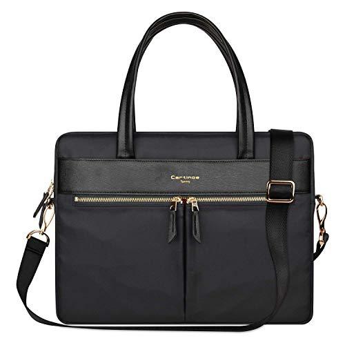 Cartinoe Laptop Tote Bag, Women Waterproof Laptop Bag Briefcase RFID Blocking Ultrathin Nylon Business Handbag Shoulder Messenger Bag 14 15 inch MacBook Ultrabook Ladies, Black ()