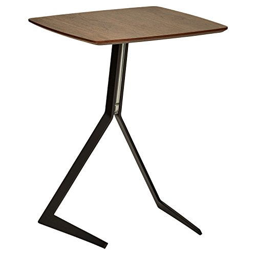 Marca Amazon – Rivet – Mesa Auxiliar de Madera y Metal Estilo Industrial ligeramente Inclinada, 44 cm de ancho – Nogal
