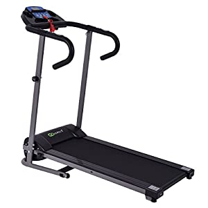 Goplus 1100W Folding Treadmill Electric Motorized Power Fitness Running Machine with LED Display and IPAD Support Perfect for Home Use(Black)