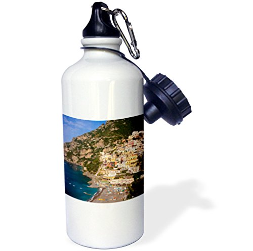 3dRose wb_137542_1 ''Amalfi coast, Positano, Campania, Italy EU16 BJN0044 Brian Jannsen'' Sports Water Bottle, 21 oz, White by 3dRose