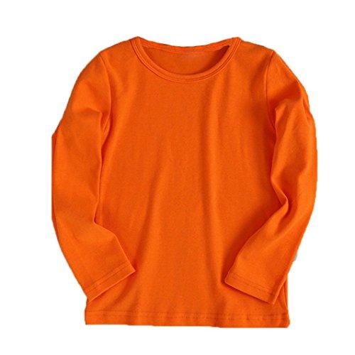 Landfox Cute Boy Girl Round Collar Long Sleeve Candy Clour Tops T-Shirt (5T, Orange) -