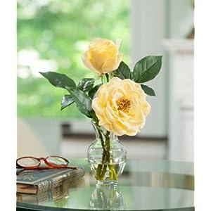 Open Rose & Bud Silk Flower Accent - Yellow 112
