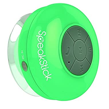 #1 Bluetooth Shower Speaker SpeakStick Listen to Music & Receive Phone Calls While in The Shower, Now Your Phone Will Be Safe, Small And Powerful 2016 Design with Lifetime Guaranty (Green)