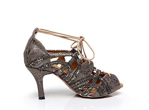 Minitoo Ladies Soft Rubber Sole Peep Toe Synthetic Salsa Latin Dancing Shoes Party Sandals Dark Grey-7.5 Cm Heel Aq1X0Z0tZz