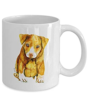 Cute Pit Bull Puppy Mug - Style No.3 - Cool Ceramic Pitbull Coffee Cup (15oz)