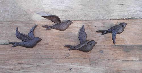 Deko-Impression Wundersch/öne Wanddeko Wandobjekt 4 Schwalben Fliegend Gusseisen braun