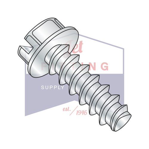 8-16X3/8 Plastite Style Thread Forming Screws | Slotted | Hex Washers Head | Steel | Zinc (QUANTITY: 10000) by Jet Fitting & Supply Corp