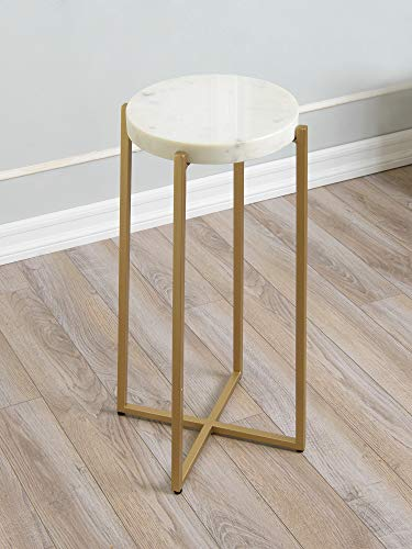 "Best Home Fashion Avenlee White Round Marble Side Table with Gold Metal Legs - 14"" L x 14"" W x 24.75"" H"