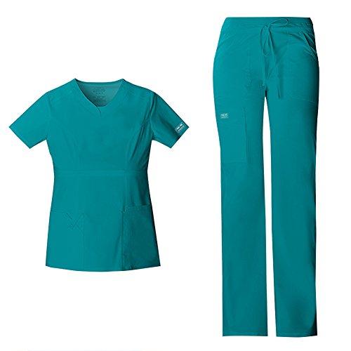 Cherokee Women's Workwear Core Stretch Junior Fit V-Neck Top 24703 & Core Stretch Junior Fit Low-Rise Drawstring Cargo Pant 24001 Scrub Set (Teal Blue - Large/Large Petite)
