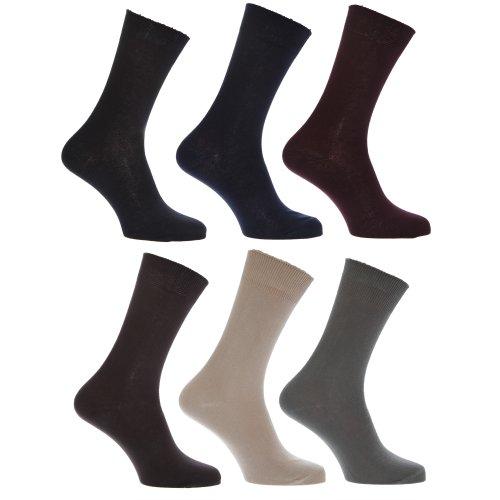 Mens 100% Cotton Plain Work/Casual Socks (Pack Of 6)