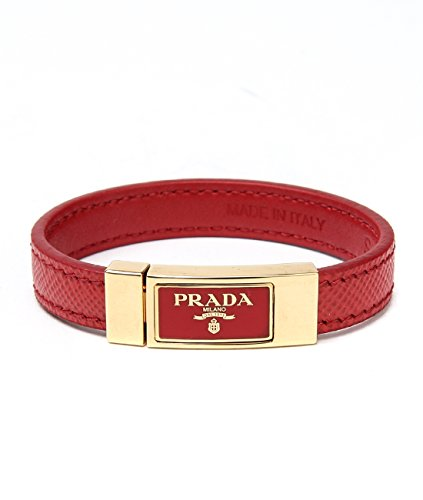 Wiberlux Prada Women's Logo Detail Thin Real Leather Strap Bracelet S - Prada Real Logo