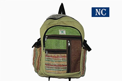 Multi Pocket Hemp and Denim Canvas Backpack – 100% Pure Hemp (THC FREE) Backpack Handmade Nepal with Laptop Sleeve – Fashion Cute Travel School Colleg…