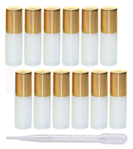 12Pcs 5ml Pearl Color Glass Roller Bottles Roll-on Bottles Vial Container with Stainless Steel Roller Balls and Gold Cap for Essential Oil Perfumes Liquid Aromatherapy+1pc 3ml Free Dropper, White