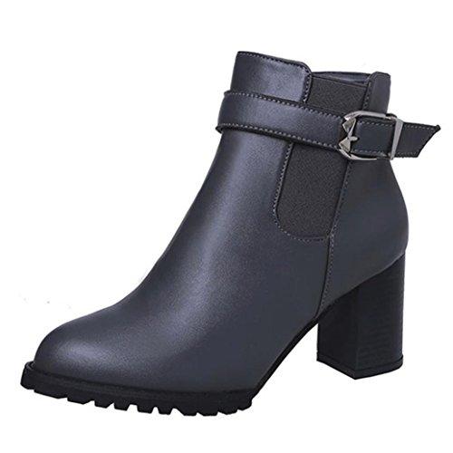Inkach Women Martin Boots [zijrits] [fuax Leather] [hoge Hakken] Enkellaarsjes Winterwarme Schoenen Grijs