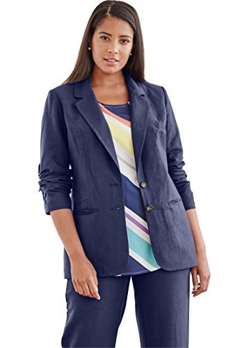 Jessica London Women's Plus Size Single-Breasted Linen Blazer Navy,18