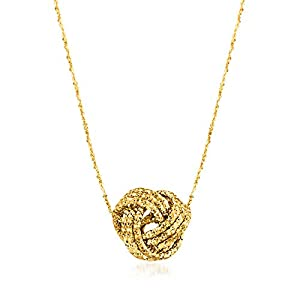 Best Epic Trends 41RhzyOUIpL._SS300_ Ross-Simons Italian 14kt Yellow Gold Textured Love Knot Necklace