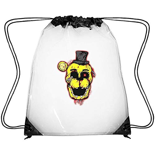 ERFDSVFSV Drawstring Clear Bags Five-Nights-at-Freddy- Printing PVC Adjustable Strap Travel Fishing Clear Backpack (Water Works Monopoly Costume)