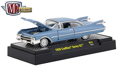 Series Argyle - M2 Machines 1959 Cadillac Series 62 (Argyle Blue Metallic) Auto-Thentics Series Release 53 - Castline 2019 Premium Edition 1:64 Scale Die-Cast Vehicle & Custom Display Case (R53 18-72)