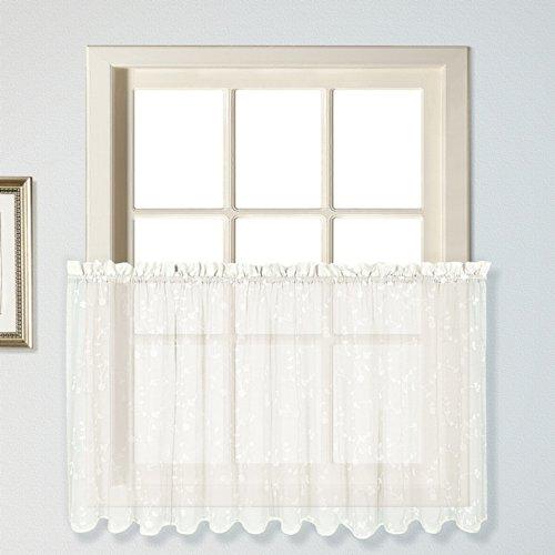 United Curtain Savannah Kitchen Tiers, 51 by 36-Inch, Oyster, Set of 2 (Kitchen Savannah)