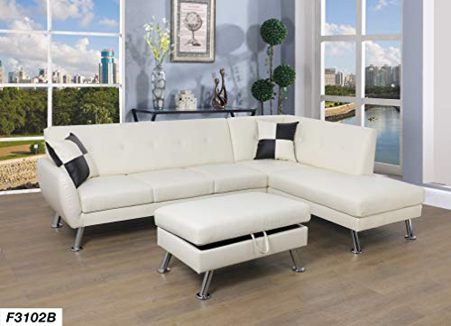 Lifestyle Furniture Right Facing 3PC Sectional Sofa Chaises Set,Faux Leather White(LS3102B) (Sectional Facing Right Chaise)