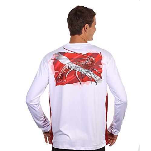 White Dive Flag - Barefoot In Public Men's Lobster Dive Flag Long Sleeve Performance Shirt-XX White