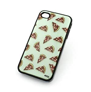 BLACK Snap On Case IPHONE 4 4S Plastic Cover - PIZZA OVERLOAD food snack mint yummy bacon pepperoni hipster fries cheese