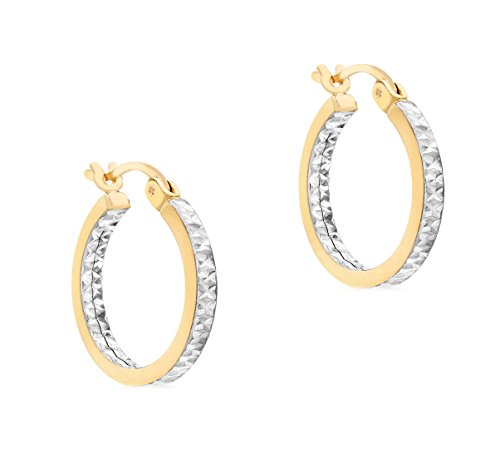 Carissima 9ct Two Colour Gold 18mm Diamond Cut Creole Earrings 9ct Gold Two Colour