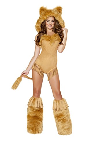 [1pc Vicious Lioness Costume, Honey, Women Medium] (Woman Lioness Costume)