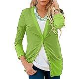 Toimoth Women's Long Sleeve V-Neck Button Down Knitwear Knit Sweater Shirt Top Blouse(Green,M)