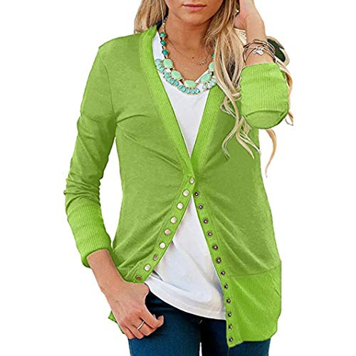 Toimoth Women's Long Sleeve V-Neck Button Down Knitwear Knit Sweater Shirt Top Blouse(Green,XL) by Toimoth Tops