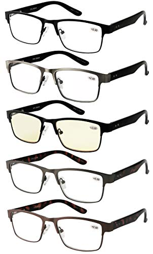 Amcedar 5-Pack Reading Glasses Men Metal Frame Spring Hinges Rectangle Style Stainless Steel Material Include Computer Readers +2.50